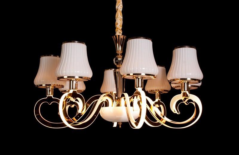 Классическая подвесная люстра с подсветкой рожков 8312-8