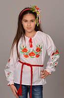 """Детская сорочка вышиванка для девочки """"Мак - 2"""""""