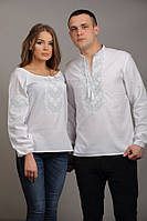 Белые вышиванки для молодых. Натуральное полотно, белая рубашка мужская вышитая и женская в комплекте