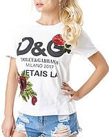 Женская футболка D&G с вышитыми розами и пайетками, белая