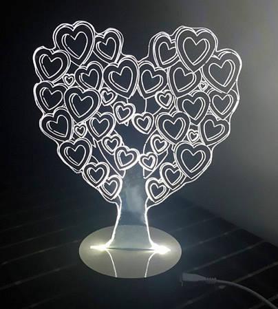 Love Tree: Оптический обман, превращающий 2D светильник в 3D