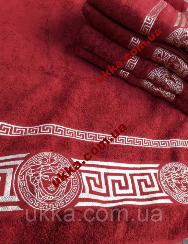 Махровое полотенце для лица 50х80 100% хлопок Узбекистан Версаче бордовое