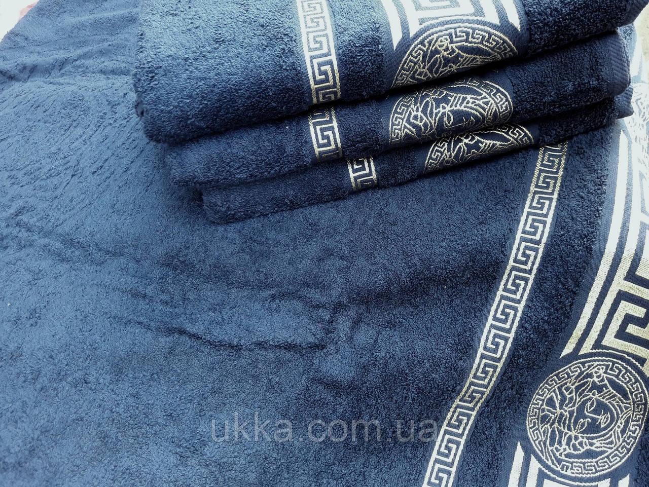 Махровое полотенце для лица 50х80 100% хлопок Узбекистан Версаче темно-синее