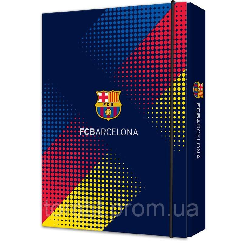 Папка картонная для тетрадей «FC Barcelona» на резинке, ТМ Kite