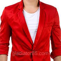 Яркий дизайнерский  мужской пиджак с рукавом 3/4 красный, белый, бежевый, мокрый асфальт