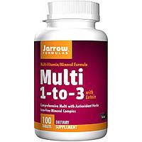БАД Витамины для женщин с лютеином, Multi 1-to-3, Jarrow Formulas, без железа, 100 таблеток