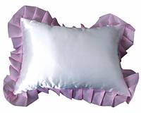 Подушка атласная рюш прямоугольник фиолетовая