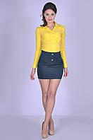 Тёмно-зелёная модная юбка женская в школу Калерия Размер 40-46