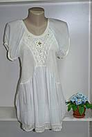 Летняя туника белого цвета комбинайия ткани и вязки, фото 1