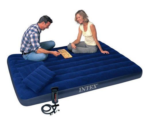Матрас надувной велюр Интекс Intex 68765 набор 152*203*22 см с насосом и 2 подушки матрац, фото 2
