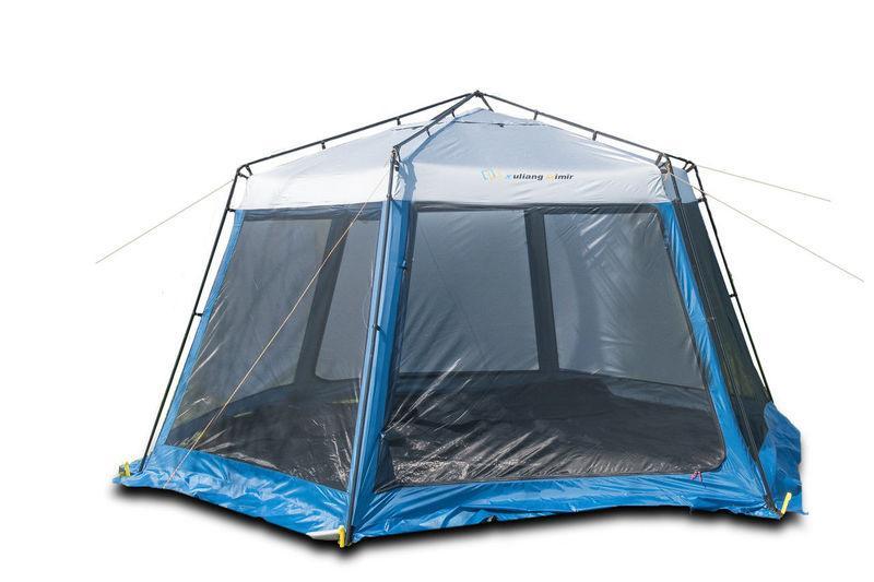 Тент шестиугольный сетка+тент 2013W шатер для походов кемпинга пикника 2 входа с крепким стальным каркасом