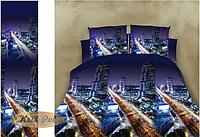 """Комплект постельного белья двуспальный, ранфорс, 3D  """"Мост в мегаполис"""""""