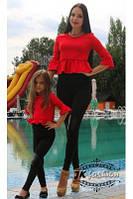 Распродажа костюмов с лосиными и короткой баской для мамы и дочки черный