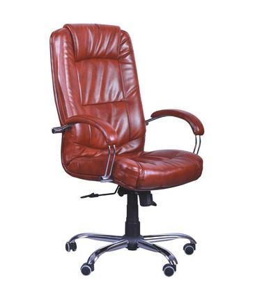 Крісло офісне Марсель хром механізм Tilt шкірозамінник Мадрас Табак (AMF-ТМ)