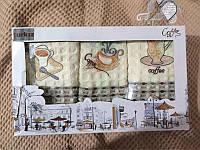 """Набор полотенец кухонных вафельных """"Чашка кофе"""" 3 шт."""