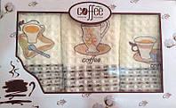 """Набор полотенец кухонных вафельных с вышивкой """"Чашка кофе"""" 3 шт."""