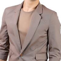 Мужской пиджак на одной пуговице, рукав 3/4 коричневый