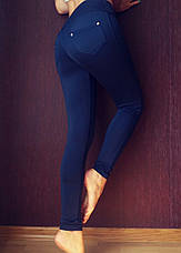 Синие лосины (батал) №010 на флисе, фото 2