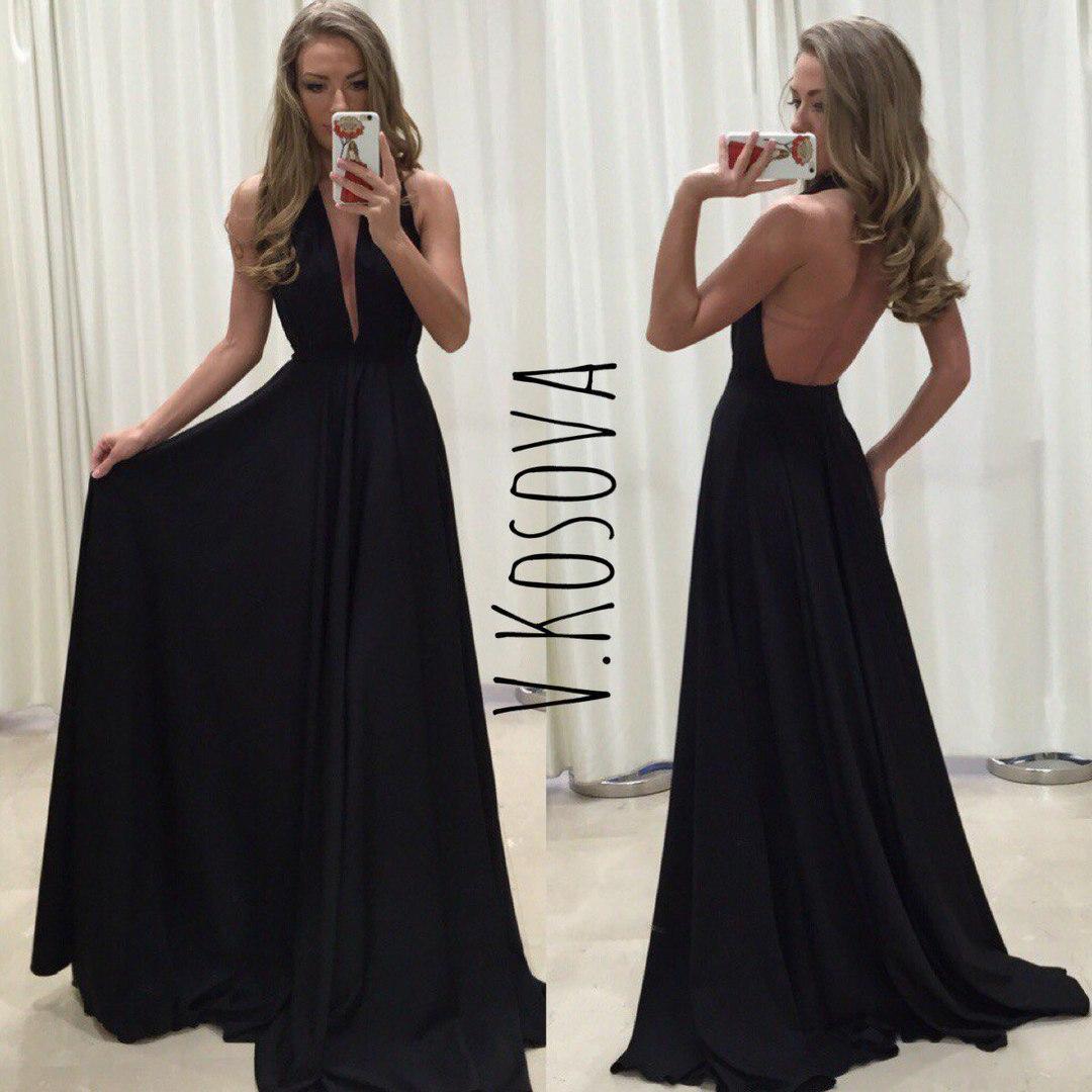 Шикарное атласное платье в пол с открытой спиной