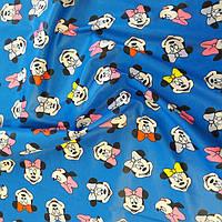 Плащевка принт детская синяя ткань