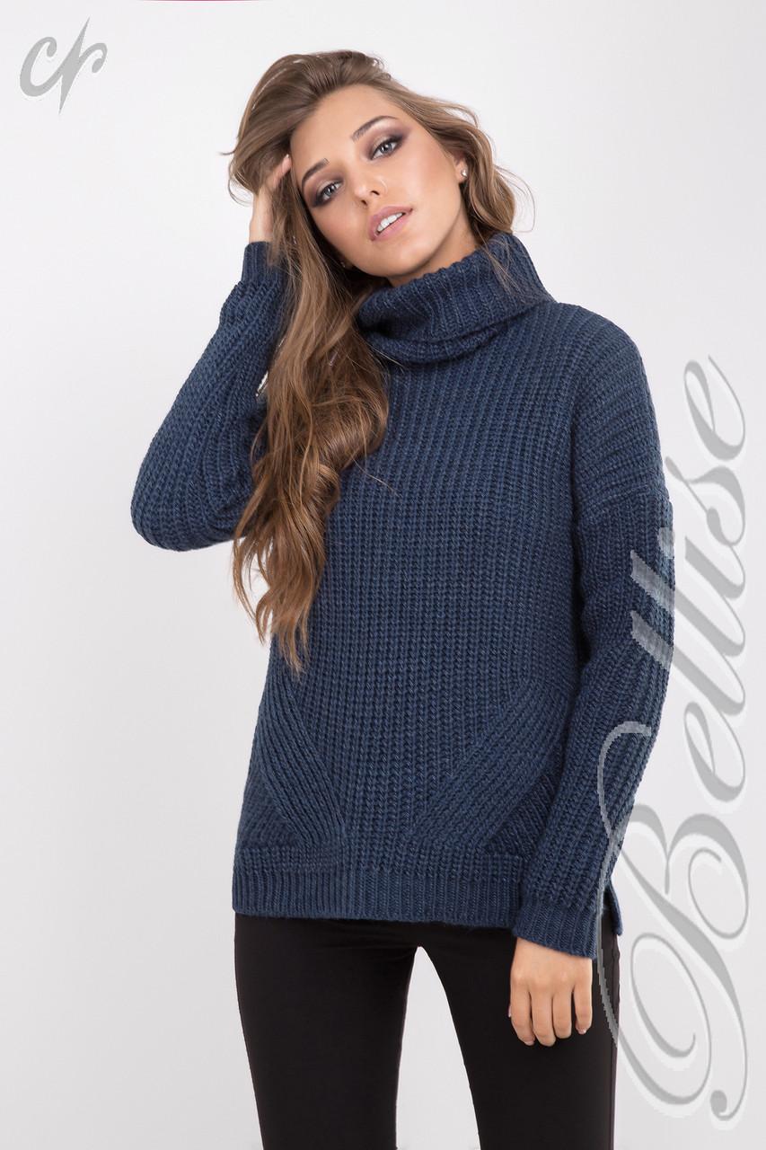 тёплый женский вязаный свитер с обьёмным воротом купить по лучшей