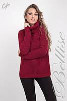 Модный женский вязаный свитер с обьёмным воротом цвета марсала