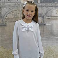 """Блузка для девочки """"Жабо""""( белая-длиный рукав)"""