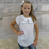 "Блузка для девочки ""Жабо""(белая), фото 1"