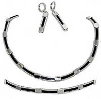 """Набор ХР """"колье 41 см,серьги 4,5 см  и браслет 7 см в диаметре.Цвет:серебряный ;"""