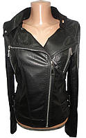 Куртка женская 813 кожзам на змейке ремешки полу батал (деми)