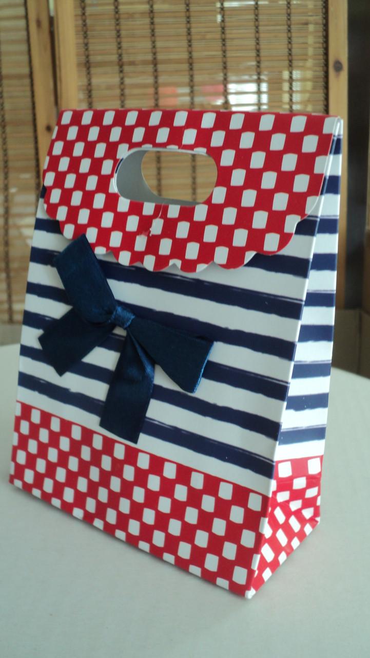 Пакет подарочный с бантиком полоска-горох (код 02972)