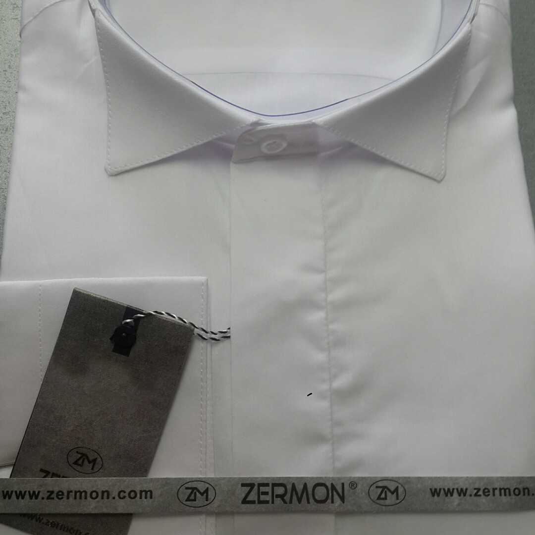 66a0e4610e62 Белая рубашка под бабочку ZERMON (размеры S + под заказ)