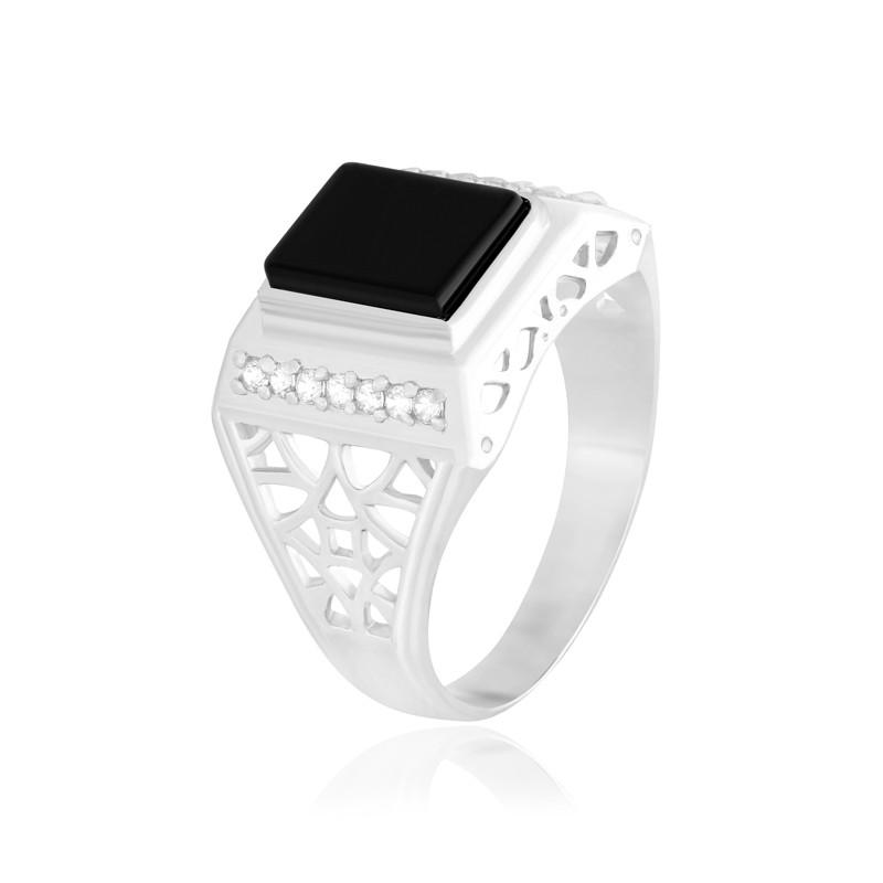 """Мужское серебряное кольцо с ониксом """"217"""""""