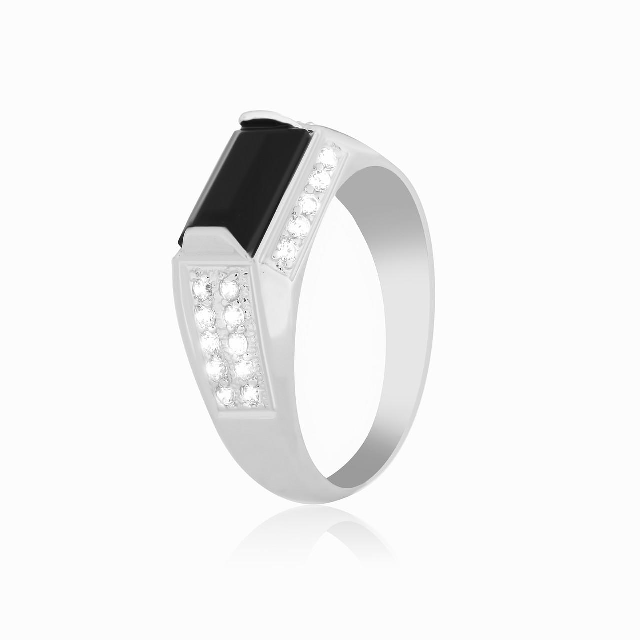 """Мужское серебряное кольцо с ониксом """"222"""""""