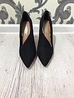 Удобные и красивые туфли на высоком каблуке. Материал: эко замш. Цвет: черный. Размеры: 36-40.