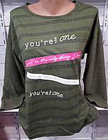 Батник в полоску с надписями женский полубатальный, фото 1