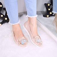 Туфли лоферы женские Rasty пудра беж 3506, балетки женские