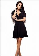 Платье с оригинальным декольте черный, S