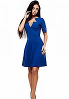 Платье с оригинальным декольте электрик, M