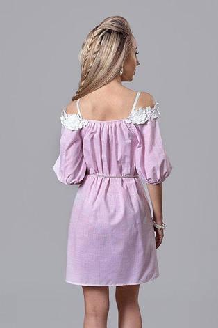 Льяное летнее платье в полоску с кружевом, фото 2
