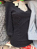 Женская блузка черная с рукавом три четверти размеры 42-50