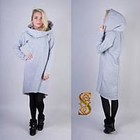 Платье теплое с капюшоном на байке 48+ арт 55761-10
