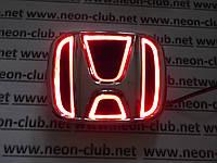 Светящаяся эмблема Honda/Хонда 5D красная