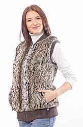 Меховой жилет. Довяз, цвет: Леопард хаки