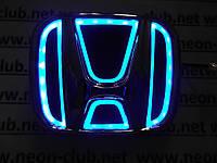 Светящаяся эмблема Honda/Хонда 5D  синяя