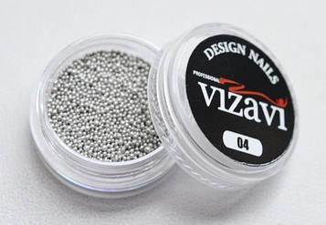 Бисер (бульонки) для дизайна ногтей серебро темное