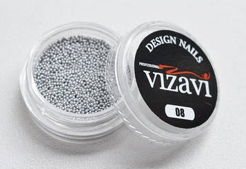 Бисер (бульонки) для дизайна ногтей серебро