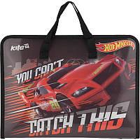 Портфель пластиковый «Hot Wheels» на молнии с тканевыми ручками, ТМ Kite