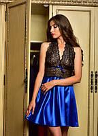 Домашняя одежда женская атласная сорочка Электрик , фото 1