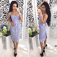 Платье женское на лето миди из коттона в полоску 2 цвета SMol1452